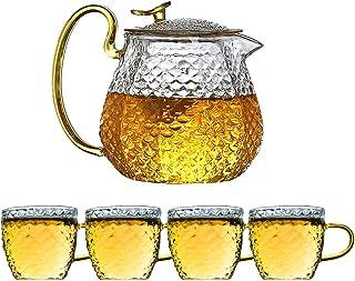 Glass Teapot 600ml + Mug 150ml4 Set Stovetop Safe Flowering Tea Coffee Infuser Maker Gift Set Gongfu