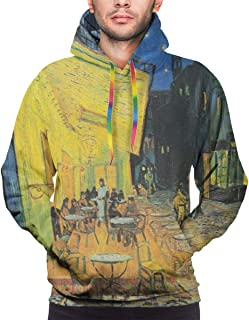 BJHAP Van Gogh Cafe Terrace at Night Long Sleeve Pullover Hoodies Hooded Sweatshirts with Pockets Drawstring