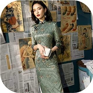 Novelty Traditional Chinese Dress Long Sleeve Qi Pao Banquet Preside Cheongsam Gold Leaf Printing Green Black Stripe Qipao
