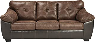 Signature Design by Ashley - Gregale Weathered Faux Leather Queen Sofa Sleeper, Coffee Brown