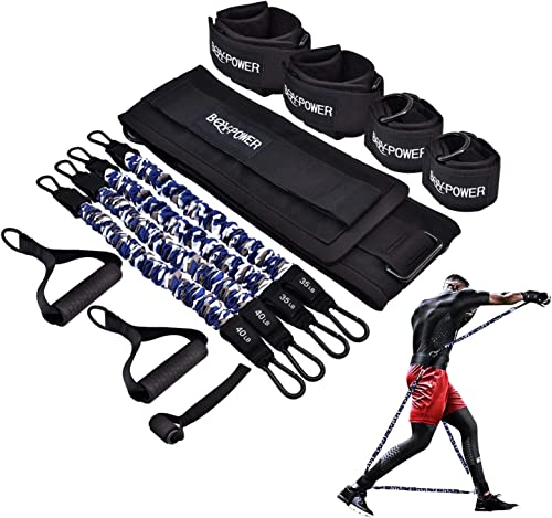 BQYPOWER Resistance Bands Set, 12PCS Exercise Bands Workout Band Ankle Exercise Bands with Door Anchor Handles Legs A...
