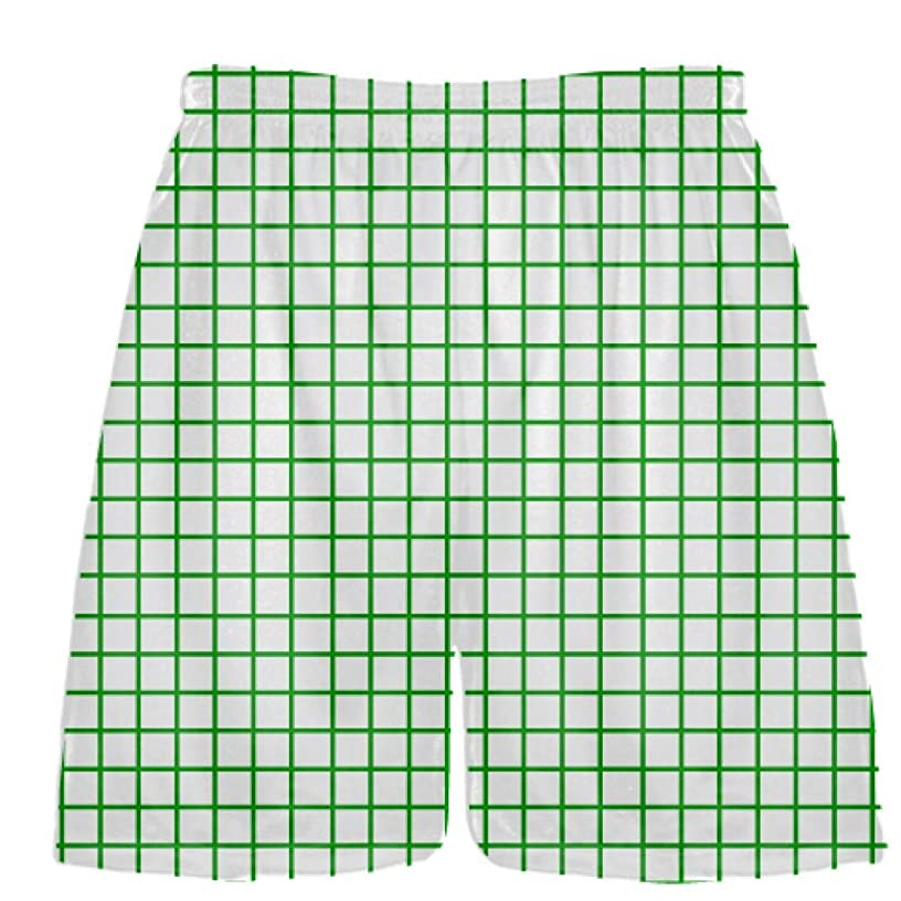 Youth Grid White Kelly Green Lacrosse Shorts - Pink Lax Shorts - Youth Lacrosse Shorts Youth, White