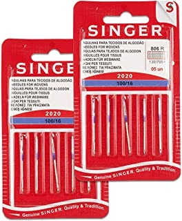 Singer Kit de 2 Paquetes de Agujas 806R 2020 100/16 Tejidos de Algodón para Máquinas de Coser 130/705 H (Set 10 Unidades)
