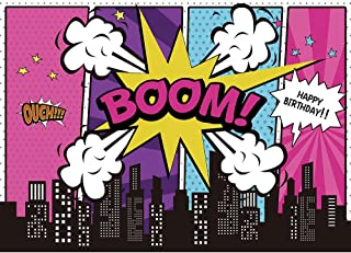 Allenjoy Superhero City Supergirl Backdrop for Pictures Happy Girls Birthday Party Decoration Banner Bustling Metropolis Night Large Cityscape Vinyl 7x5ft Photgraphy Background Photo Booth Props