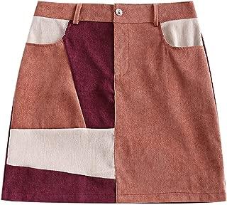 ZAFUL Women's Vintage Corduroy Color Block Patchwork A-Line Mini Skirt