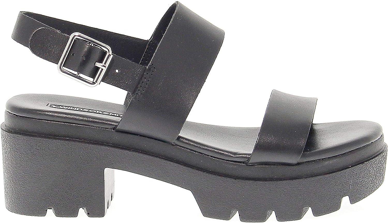 WINDSOR SMITH Women's WINDEMMYBLACK Black Faux Leather Sandals