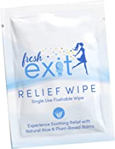 FreshExit – 30 Individually Wrapped Hemorrhoid Treatment Wipes – Flushable Wipes for Adults - Witch Hazel Wipes with Aloe