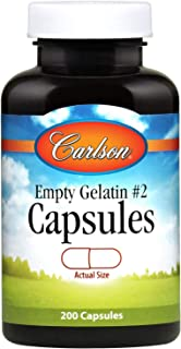 Carlson - Empty Gelatin #2 Capsules, Easy to Separate & Fill, 200 capsules