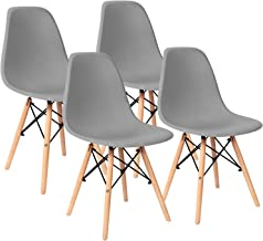 Pre Assembled Modern Style Dining Chairs Mid Century Eiffel DSW Side Chair Indoor Armless Plastic Shell Chairs for Dining Room, Kitchen, Living Room, Bedroom Set of 4 (Gray)