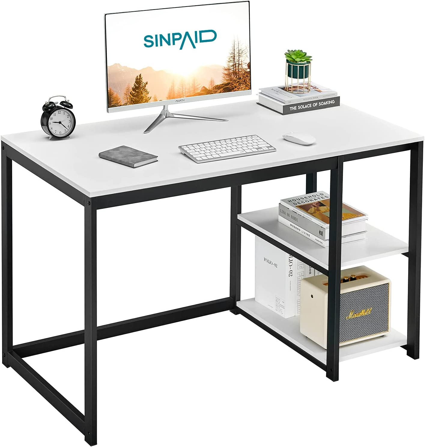 SINPAID Computer Desk 40 inches with 2-Tier Shelves Sturdy Home Office Desk with Large Storage Space Modern Gaming Desk Study Writing Laptop Table, White Desk