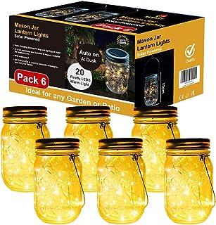 Lampada Solare, 6 Pezzi Lampade Solari Barattolo di Vetro Illuminante Impermeabile Lampade con 20 LED per da Esterno Giard...
