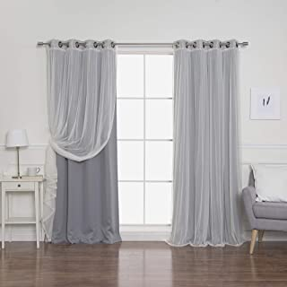 Best Home Fashion uMIXm Tulle Sheer Lace & Blackout 4 Piece Curtain Set - Antique Bronze Grommet Top - Grey - 52