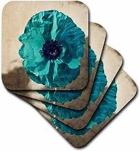 3dRose LLC cst_37943_2 Soft Coasters, Teal Poppy-Flowers-Art-Nature, Set of 8