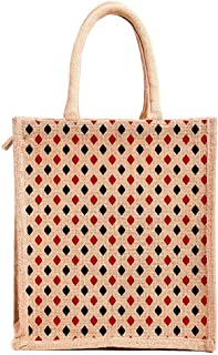 H&B Jute bags for lunch for men | Jute bags with zip | Jute Tote Bag | Jute Tiffin Bags | Printed Jute Bag | jute carry bag | Jute bag medium size (Print: Polka Dots, Beige, Size: 11x10x6 Inch)