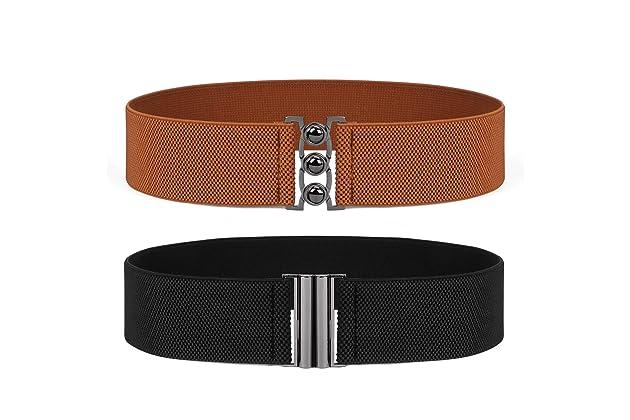 dc6c9a721e9 JASGOOD Vintage Wide Elastic Waist Belt Waistband Dress Stretchy Cinch Belt  For Women 1.8 Inch Wide