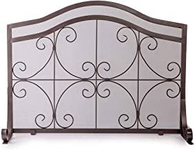 Plow & Hearth Large Crest Flat Guard Fireplace Screen, Solid Wrought Iron Frame with Metal Mesh, Decorative Scroll Design, Free Standing Spark Guard 41 W x 33 H x 13 D, Copper Finish