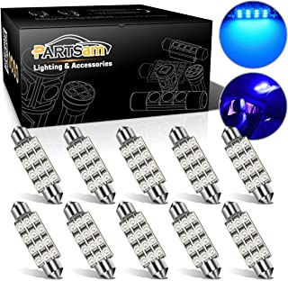 Partsam Blue 42mm Festoon 12-3528-SMD Car Interior Dome Map Reading LED Light Bulbs (Pack of 10)