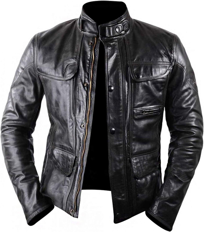 Arnold Schwarzenegger Genisys Black Leather Jacket - Black Biker Leather Jacket - Leather mc Jacket