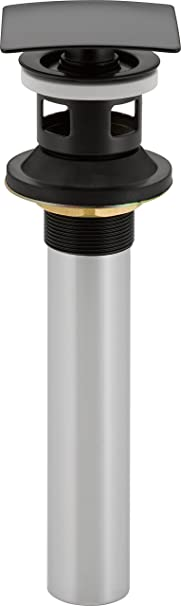 Delta 72175-CZ Square Push Pop-Up Bathroom Sink Drain with Overflow Champagne Bronze