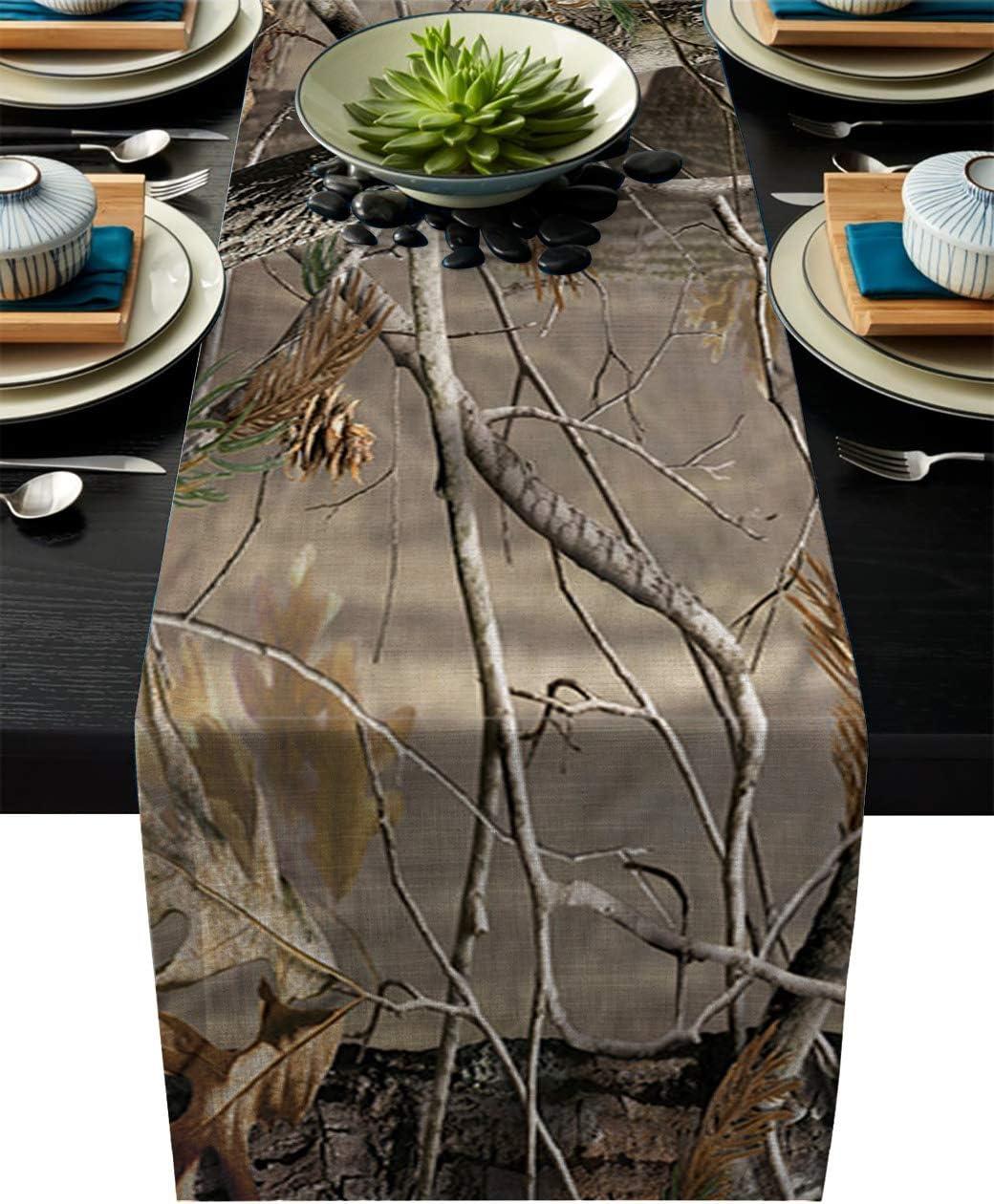Cotton Linen Table Runner Dresser Scarves Camouflage Tree Non-Slip Burlap Rectangle Dinner Runners for Outdoor Indoor Parties Wedding Home Decor - 13