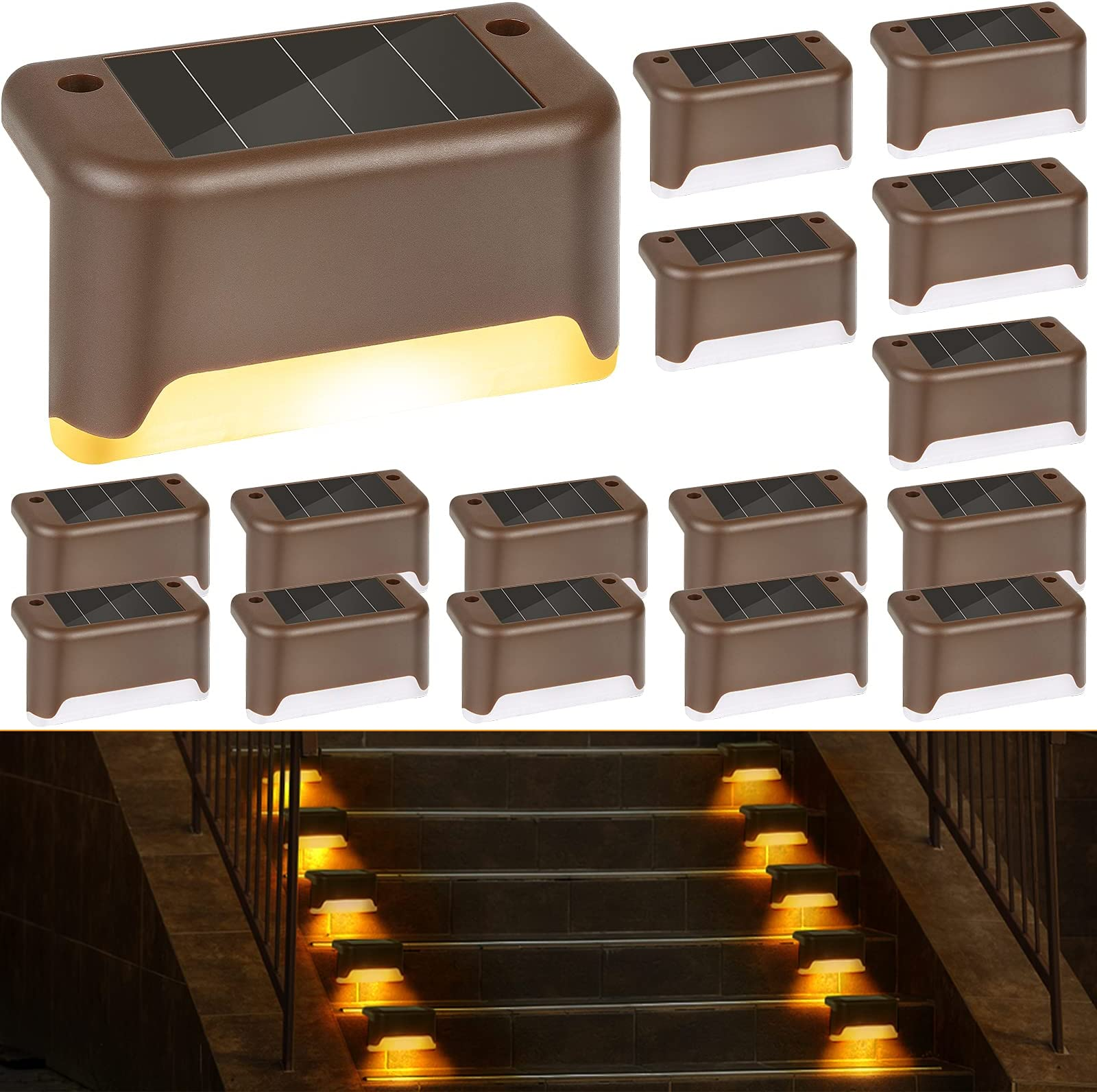 Fence Post Lights Yard Warm White Pathway Steps Fence Solar Step Light ZSZMFH 2 Pack Solar Deck Lights Auto On//Off Outdoor LED Waterproof Lighting for Patio