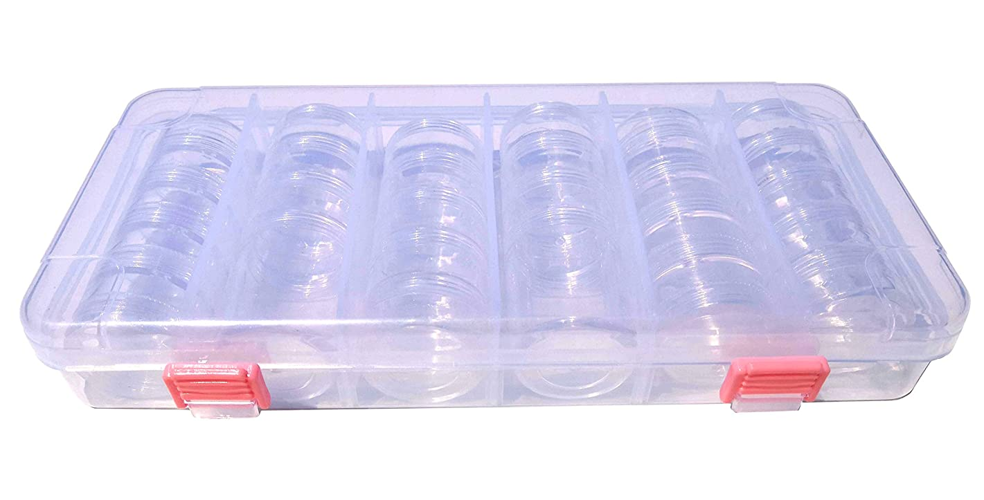 Kamay's Transparent Heavy Duty Plastic Removable 28 Pots Storage Jars Beads Pills Containers Organizer with Large PC Collection Storage Container with Snap-Lcok