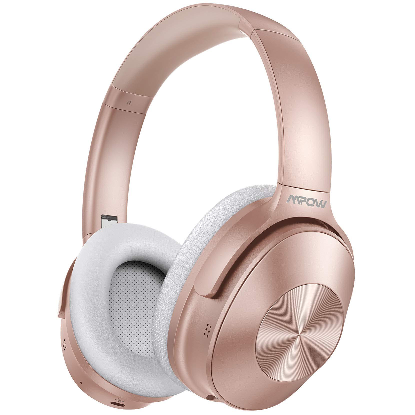 Mpow H12 Auriculares con Cancelación de Ruido, Auriculares Bluetooth Diadema 5.0 con Micrófono CVC 6.0, 30 Hrs de Reproducir, Cascos con Cancelación de Ruido para Videollamada/Skype/PC/TV/Móvil-Rosa: Amazon.es: Electrónica