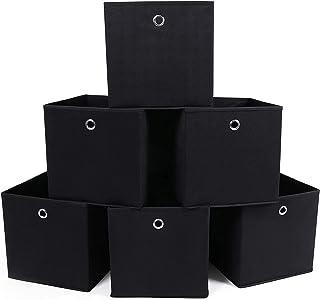 SONGMICS Lot de 6 Boîtes Tiroirs en Tissu Cube de Rangement Pliable Coffre pour Linge, Jouets, Vêtement 30 x 30 x 30 cm No...