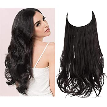 Black Brown Hair Extension Halo Curly Long Synthetic Hairpiece Natural 18 Inch 4.2 Oz Hidden Wire Headband for Women Heat Resistant Fiber No Clip SARLA(M01&4#)