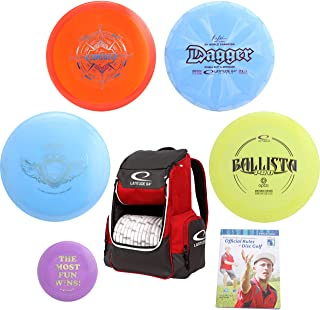 Latitude 64° Complete Disc Golf Gift Set - Core Backpack Bag + 4 Best Discs, Rules Book and Mini Marker Disc (7 Items, Colors May Vary)