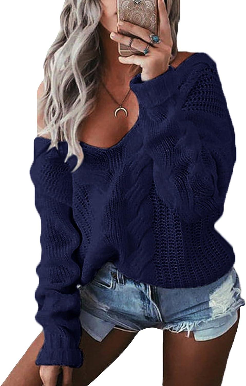 YOINS Jersey Mujer Invierno Jersey Punto Mujer Sexy Camiseta Manga Larga Blusa Hombros Descubiertos Cuello V