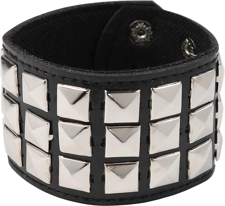 Skeleteen Punk Leather Stud Bracelet - Leather Cuff Biker Bracelet with Studs for Men, Women and Kids