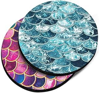 CARIBOU Coasters, Mermaid Scales Blue Wave + Pink Mermaid Scales Design Absorbent Round Fabric Felt Neoprene Car Coasters ...