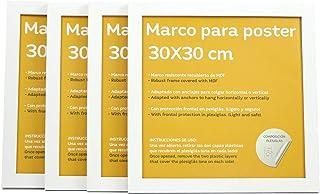Nacnic Set de 4 Marcos Blancos para Fotos, Posters, láminas, Diplomas. Tamaño(30x30 cm).Robustos de MDF y Frontal de plexiglas.Marcos Blancos para Colgar