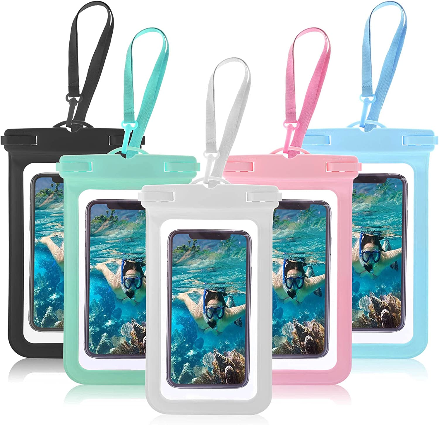 5 Pack Waterproof Case Universal Waterproof Pouch Cellphone Dry Bag Underwater Case Compatible for 12/12 Pro/11/11 Pro/SE/Xs Max/XR/8P/7 Galaxy up to 7