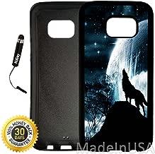 Custom Galaxy S7 EDGE Case (Wolf Howling Under Bright Moon) Edge-to-Edge Rubber Black Cover Ultra Slim | Lightweight by Innosub