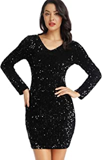 Women's Sparkle Glitzy Glam Sequin Long Sleeve Flapper Party Club Dress