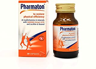 Pharmaton Capsules Stress Fatigue Tiredness Exhaustion Ginseng G115 Optimal Physical and Mental Performance 30 Capsules Bottle Ideal Size for Taking