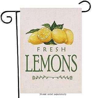 علم حديقة Artofy الليمون الطازج ، منزل ساحة العشب الربيع الصيف الفاكهة الليمون في الهواء الطلق الخيش العلم مزدوج الجانب ، ...