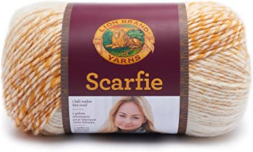 Lion Brand Yarn 826-214 Scarfie Yarn, One Size, Cream/Mustard