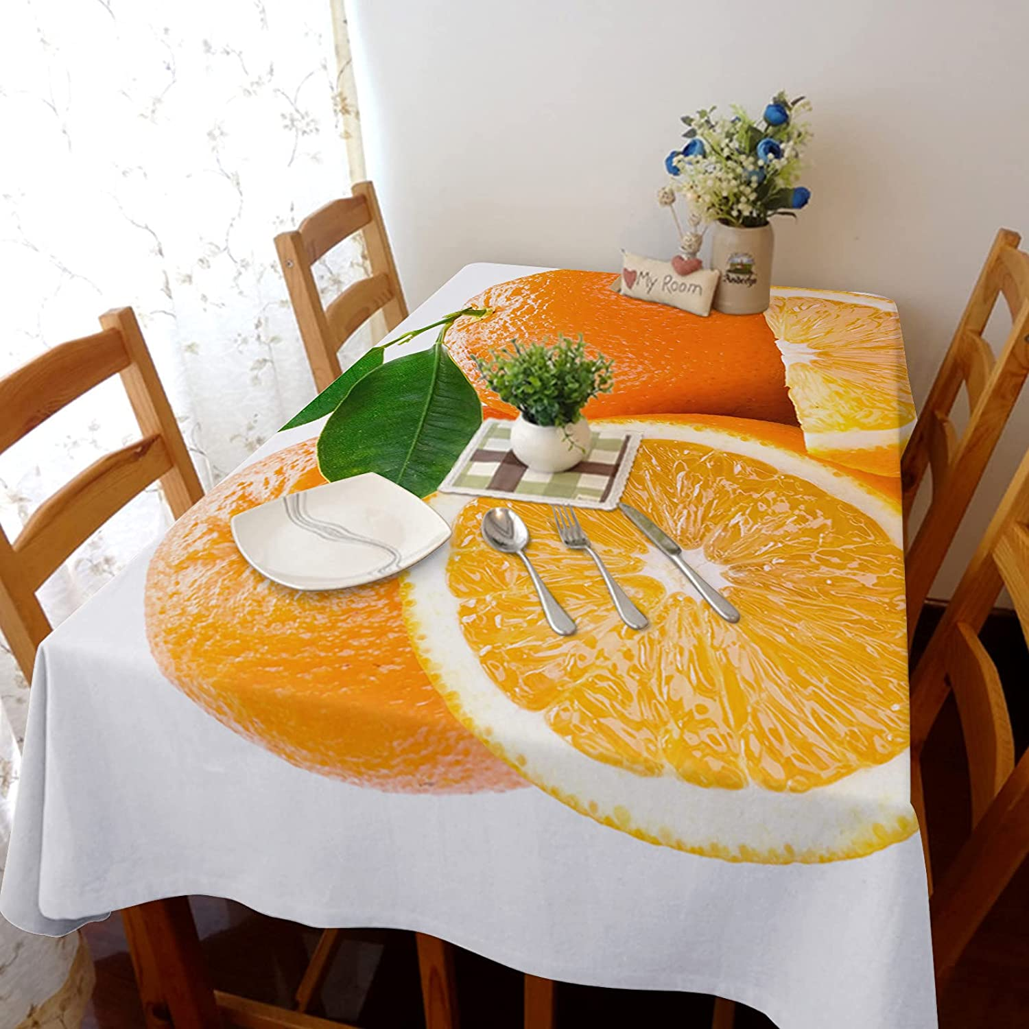 Tablecloth for Rectangle Table Clearance SALE! Limited time! Fresh Cotton Orange Line Pattern Bombing free shipping
