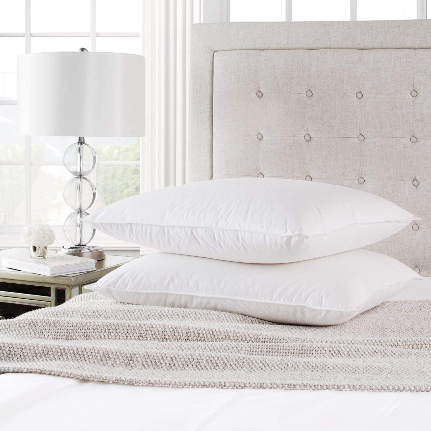 Park Hotel Collection White Down Pillow 2-Pack with Long-Staple Cotton Shell - Filled in The USA with RDS Certified, Responsibly Sourced Down - Hypoallergenic - 550 Fill Power - King