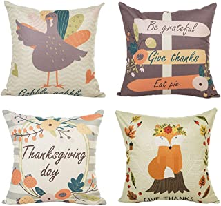 PSDWETS Thanksgiving Decorations Turkey Fox Pattern Be Grateful Give Thanks Eat Pie Pillow Covers Set of 4 Thanksgiving Decor Throw Pillow Covers Cushion Cover 18 X 18
