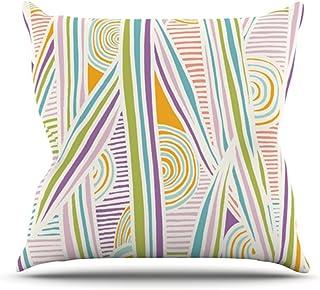 "KESS InHouse EO1006AOP03 18 x 18-Inch ""Emine Ortega Graphique White"" Outdoor Throw Cushion - Multi-Colour"