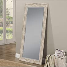Full Length Wall Mirror - Rustic Rectangular Shape Horizontal & Vertical Mirror - Can Be Use in Living Room, Bedroom, Entryway or Bathroom (Antique White Wash)