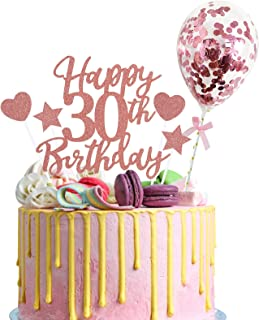 Larchio 30th Birthday Cake Topper, Rose Gold Happy 30th Birthday Cake Topper with Balloon Cake Topper and 4PCS Heart and S...