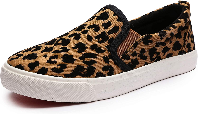 Minibella Boys Girls Leopard Canvas Sneakers Slip-on Loafers Sport Tennis Shoes for Kids