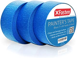 XFasten Professional Blue Painters Tape 2-Inches x 60 Yards (3-Pack)
