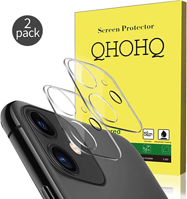 QHOHQ [2 Unidades Protector de Lente de cámara para iPhone 11 (6.1) Vidrio Templado[Dureza 9H] Cristal Templado [Sin Burbujas] HD Protector de Pantalla (Clear)