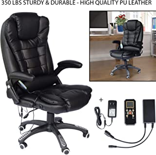 350 Lbs Sturdy & Durable Heated Vibrating Office Massage Chair Executive Ergonomic Computer Desk 6 Vibrating Massage Options with Padded Seat, Armrests, and Backrest Perfect for Home & Office - Black